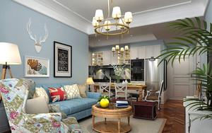 91平米美式田园风格温馨恬静两室两厅室内装修效果图