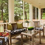 田园风格别墅休闲封闭式阳台设计装修效果图
