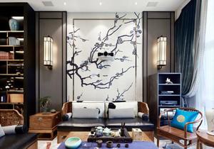 中式风格大户型精致客厅背景墙装修效果图