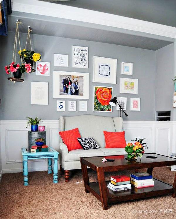 混搭风格时尚清新客厅照片墙装修效果图赏析