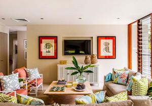 田园风格自然清新客厅电视背景墙装修效果图