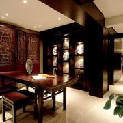 中式风格开放式书房博古架装修效果图