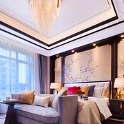 中式风格古典雅致大户型卧室背景墙装修效果图