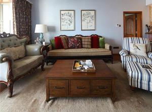 86平米美式复古风格两室两厅室内装修效果图赏析