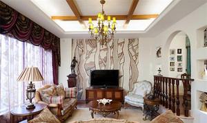 137平米美式乡村风格精致三室两厅室内装修效果图案例
