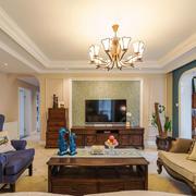 清新美式风格大户型精致客厅电视背景墙装修效果图