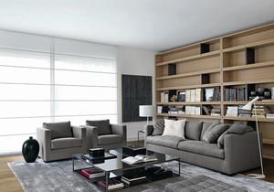 现代风格灰色系客厅书房装修效果图赏析