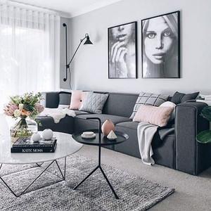 北欧风格灰色系温馨小户型客厅装修图