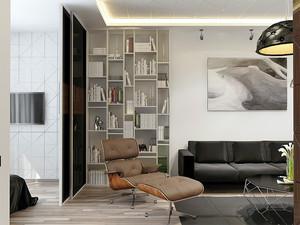 56平米现代风格精致小型单身公寓装修效果图