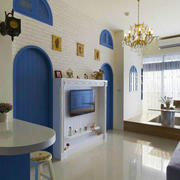 地中海风格蓝色清爽客厅电视背景墙装修效果图