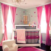 简欧风格粉色梦幻婴儿房设计装修效果图