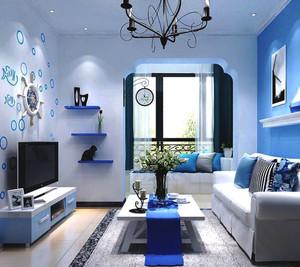 地中海风格小户型蓝色客厅装修效果图赏析