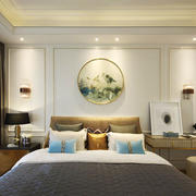 新中式风格大户型雅致卧室背景墙装修效果图
