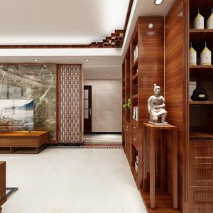 127平米中式风格精致三室两厅室内装修效果图案例