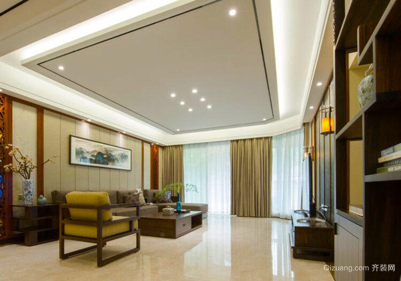 中式风格大户型精致客厅吊顶设计装修效果图
