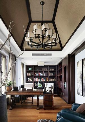 中式风格精致别墅室内大书房装修效果图