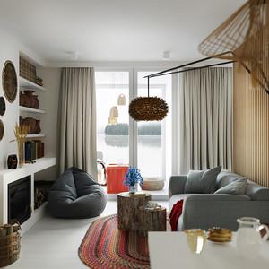 58平米现代风格精装单身公寓装修效果图赏析