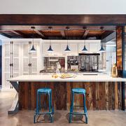 复古美式风格创意开放式厨房装修效果图