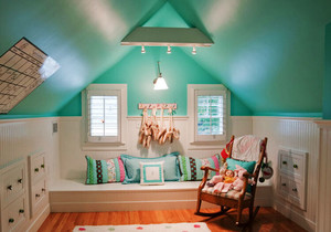 清新美式风格阁楼飘窗设计装修效果图欣赏