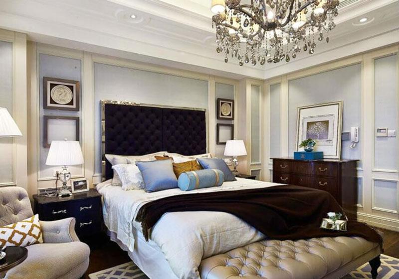 简欧风格精致卧室背景墙装修效果图案例