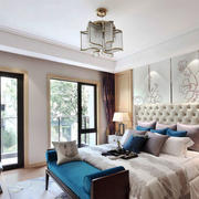 新中式风格大户型精致卧室背景墙装修效果图