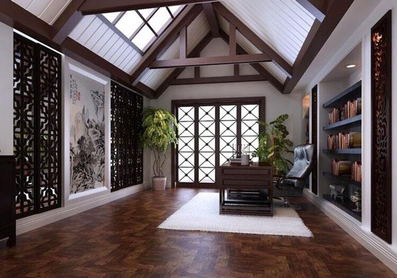 中式风格别墅精致阁楼书房设计装修效果图