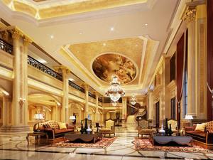 欧式风格奢华华丽酒店大堂设计装修效果图赏析