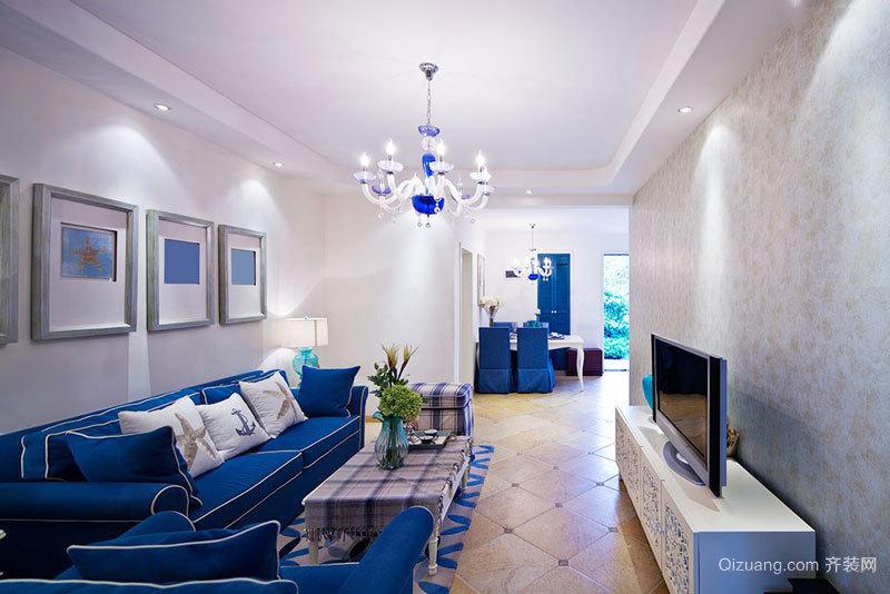 地中海风格经典蓝色客厅装修效果图欣赏