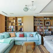 清新风格大户型客厅书房一体装修效果图