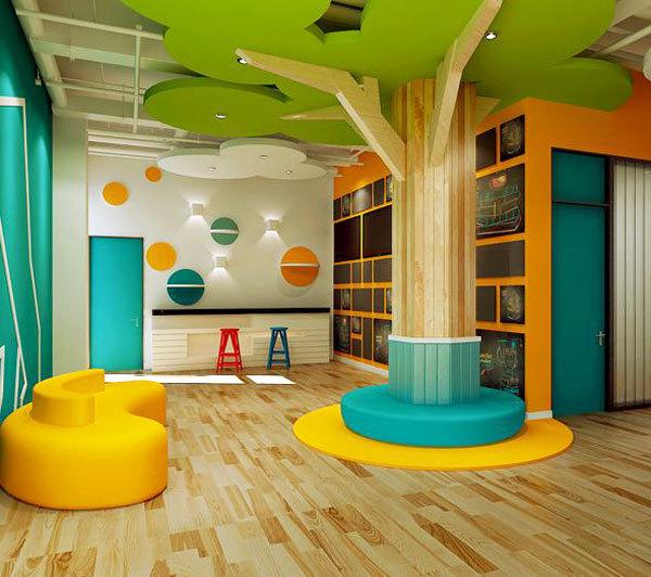 现代简约风格时尚创意幼儿园吊顶设计装修效果图