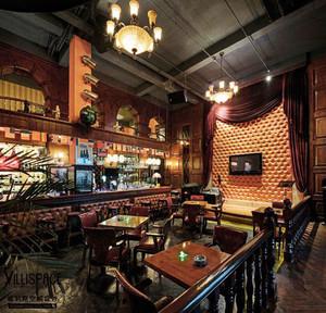 102平米复古风格精致酒吧设计装修效果图