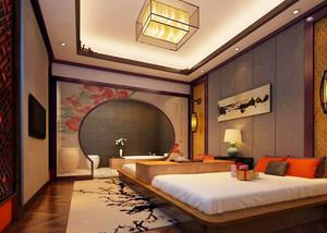 中式风格古典精致宾馆客房设计装修效果图