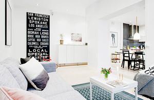86平米北欧风格自然三室两厅室内装修效果图案例