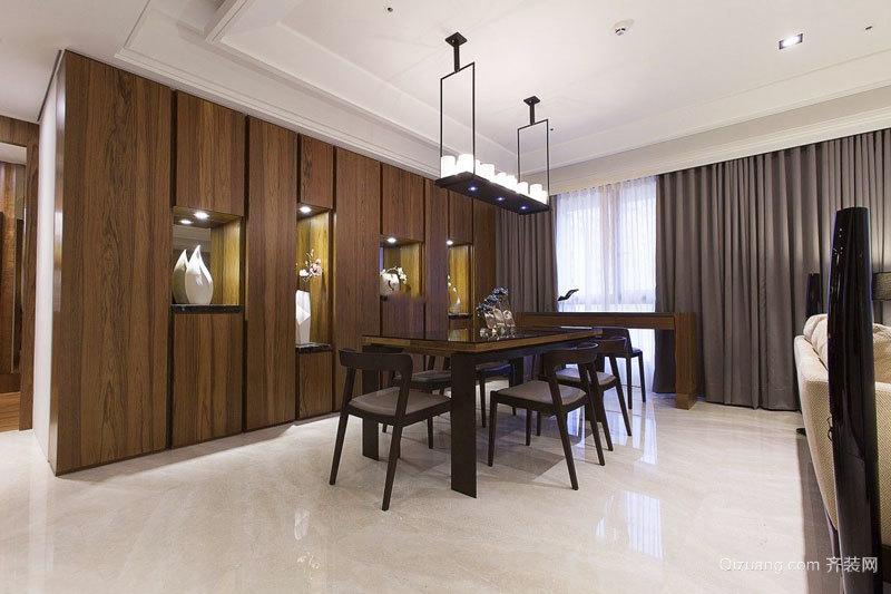 新中式风格大户型精致餐厅背景墙装修效果图
