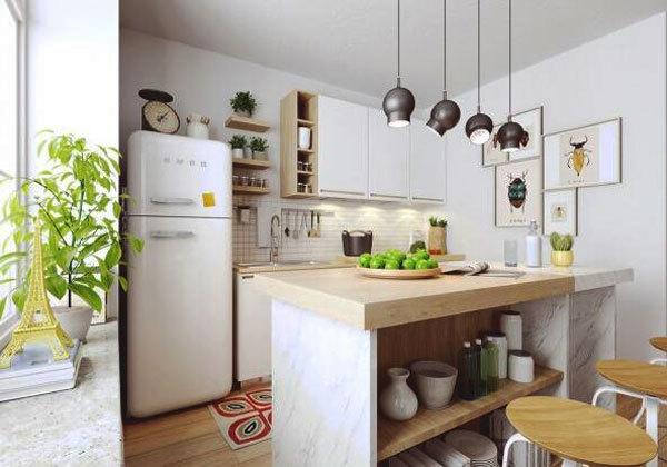 北欧风格小户型开放式厨房吧台装修效果图