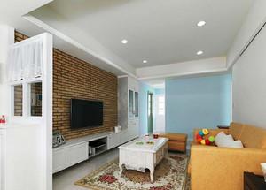 96平米田园风格舒适清新三室两厅室内装修效果图