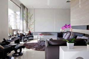 现代简约风格时尚冷色调客厅装修效果图欣赏