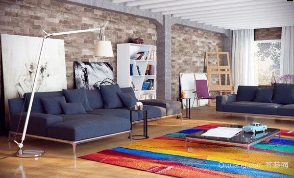 現代簡約風格時尚冷色調客廳裝修效果圖欣賞