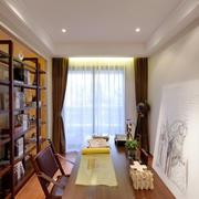 中式风格古典精致书房博古架装修效果图