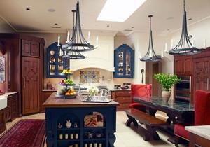 地中海风格混搭精致别墅厨房装修效果图