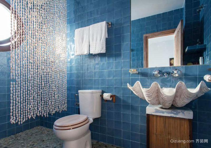 地中海风格精致蓝色卫生间瓷砖装修效果图