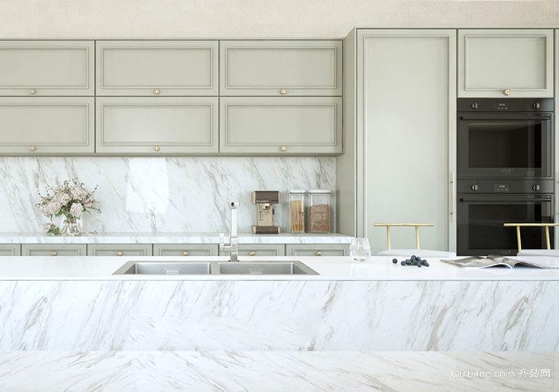 欧式风格浅色大户型大理石厨房装修效果图