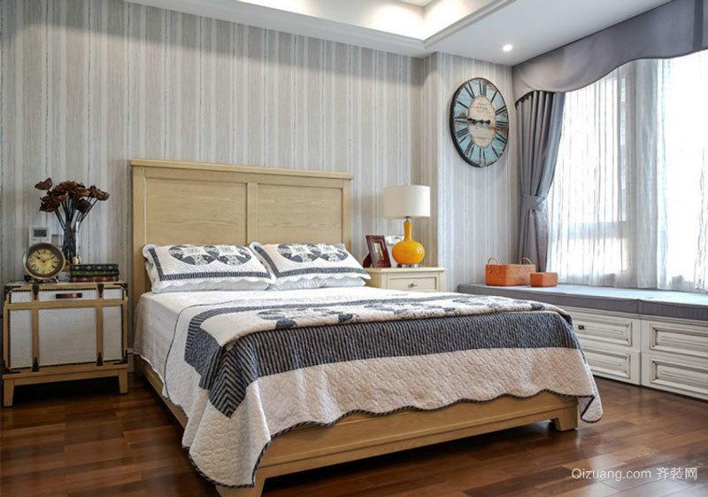 简欧风格精致卧室飘窗设计装修实景图