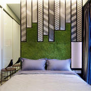 现代简约风格时尚清新卧室背景墙装修实景图