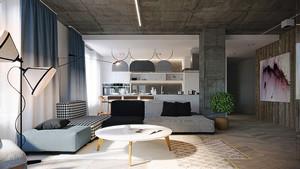 106平米现代简约风格灰色系三室两厅室内装修效果图案例