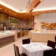 140平米现代风格自助餐厅装修实景图