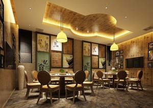 中式风格古典中餐厅装修效果图