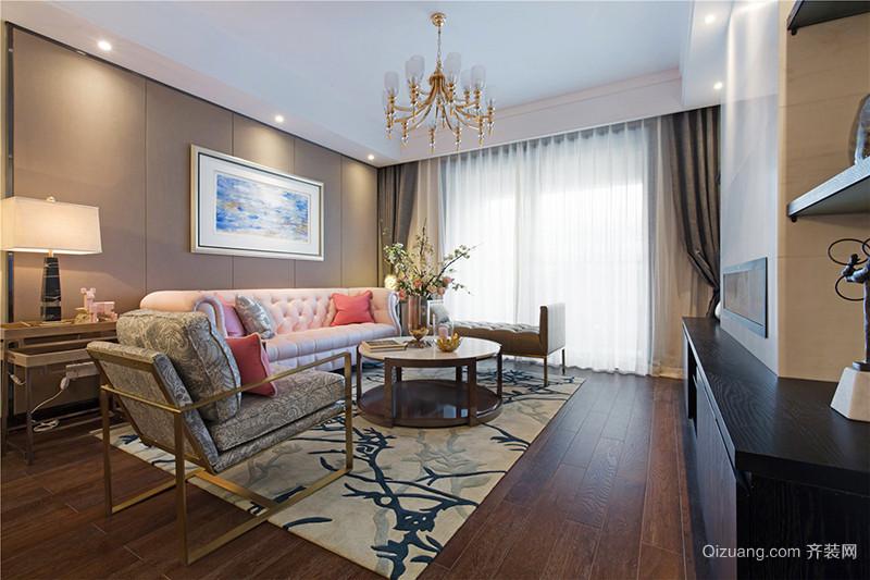 136平米混搭风格精致三室两厅室内装修效果图案例