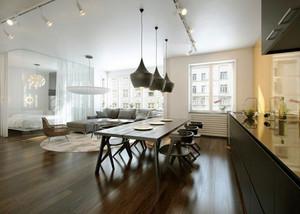现代简约风格开放式客厅餐厅装修效果图案例