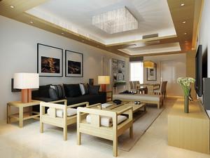 现代简约风格偏中式三室两厅室内装修效果图